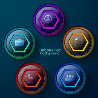 Infografía de gráfico de negocio abstracto digital con iconos y botones web brillantes coloridos aislados