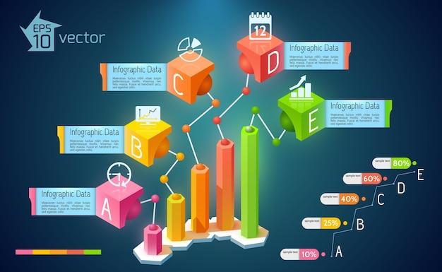 Infografía de gráfico de negocio abstracto