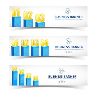 Infografía de gráfico de negocios con banners horizontales, gráficos azules, números de oro y lugar para texto aislado