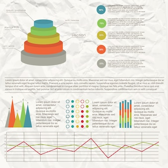 Infografía de gráfico plano con diferentes cuadros y gráficos con efecto de papel arrugado