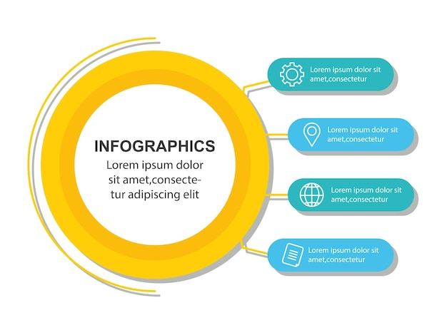 Infografía, gráfico de proceso de datos comerciales, diagrama con pasos, opciones, partes o procesos