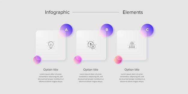 Infografía de gráfico de proceso empresarial con cuadrados de 3 pasos