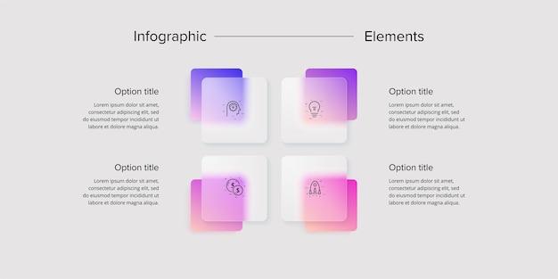 Infografía de gráfico de proceso empresarial con cuadrados de 4 pasos elementos gráficos de flujo de trabajo corporativo diapositiva de presentación del diagrama de flujo de la empresa