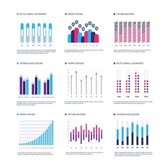 Infografía gráficos de marketing histograma financiero, gráfico de barras