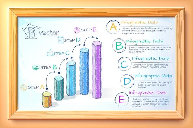 Infografía de gráficos de negocios con croquis coloridos gráficos cinco opciones de texto e iconos en la ilustración de marco de madera
