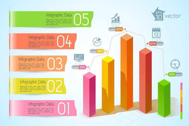 Infografía de gráficos de negocios