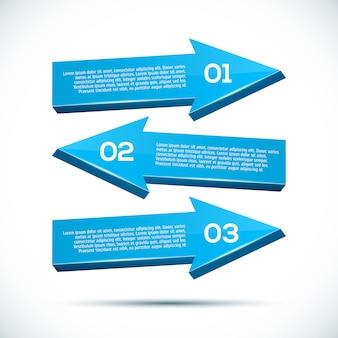 Infografía con grandes flechas 3d