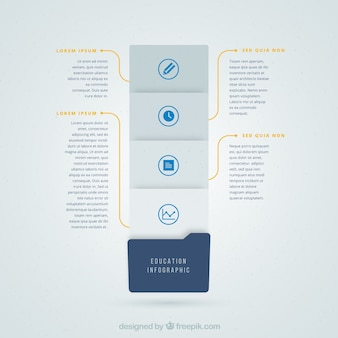 Infografía gris y azul para la educación