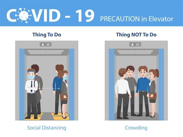 Infografía hacer y no personas distancia social con hacinamiento en el ascensor