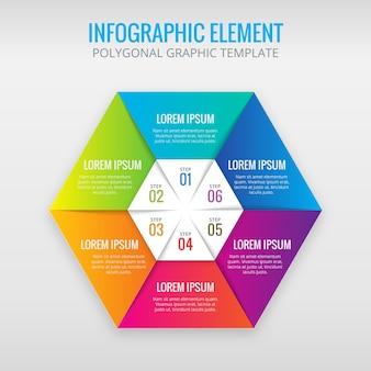 Infografía hexagonal con 6 colores