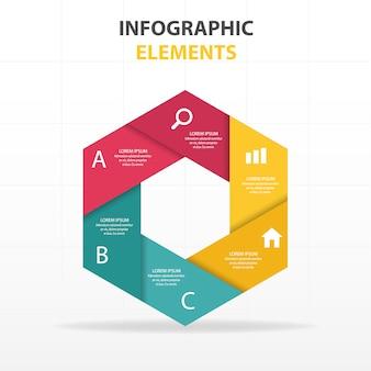 Infografía hexagonal con diferentes colores