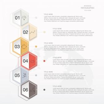 Infografía hexágono 6 opción o pasos e iconos para el concepto de negocio.