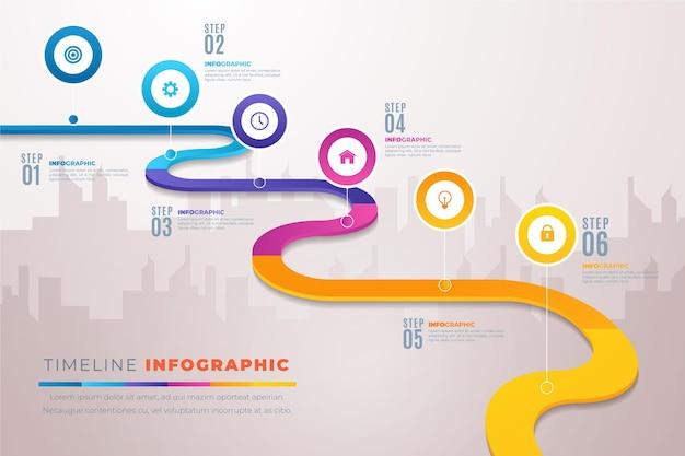 Infografía de hoja de ruta degradada