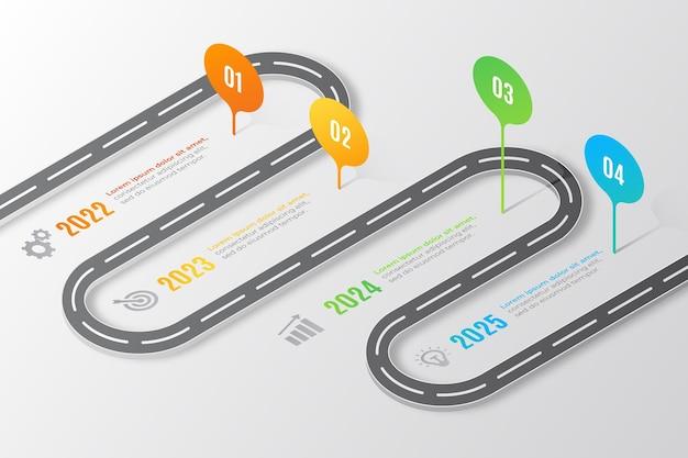 Infografía de hoja de ruta isométrica
