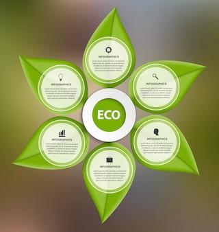 Infografía con hojas verdes.