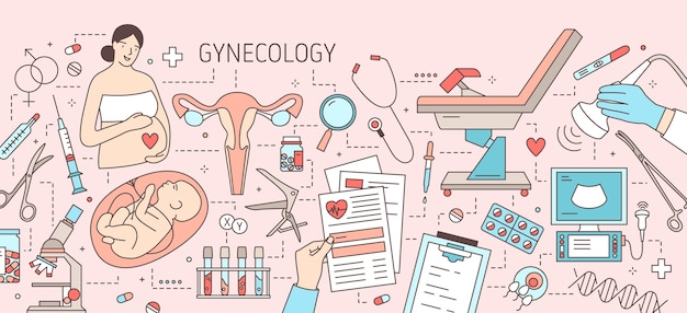 Infografía horizontal creativa en ginecología.