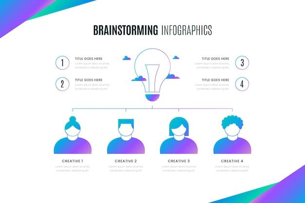 Infografía horizontal de lluvia de ideas degradada
