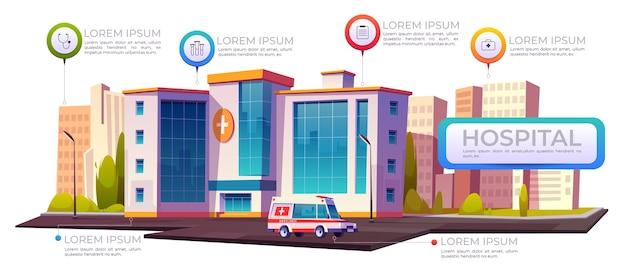 Infografía del hospital, edificios de la clínica con ambulancia y elementos infográficos.