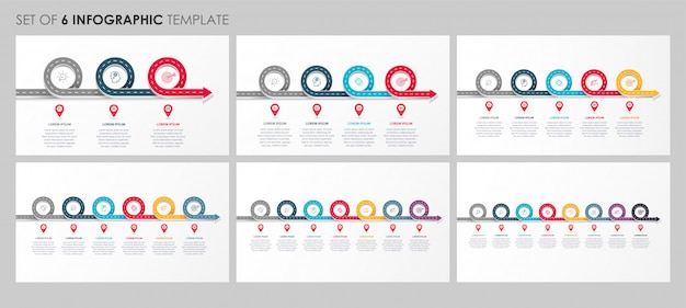 Infografía con iconos y 3, 4, 5, 6, 7, 8 opciones o pasos. concepto de negocio.