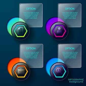 Infografía con iconos conceptuales de botones de negocios, formas de degradado y cuadros cuadrados de leyendas de texto