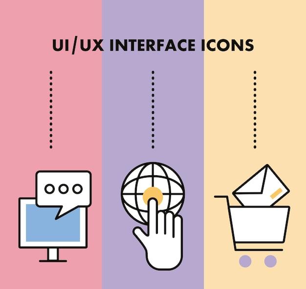Infografía con iconos de conjunto de interfaz. Vector Premium