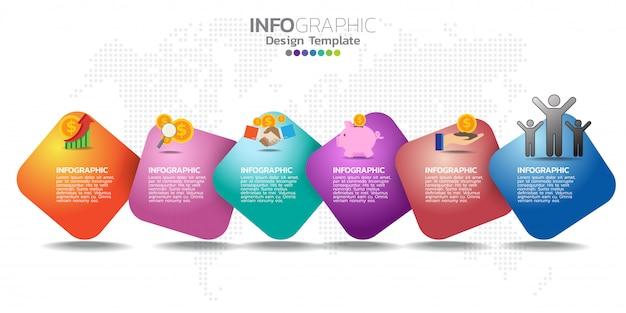 Infografía para iconos de negocios y 6 opciones o pasos.