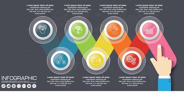 Infografía de ilustración digital 3d abstracto. la ilustración vectorial se puede utilizar para el diseño de flujo de trabajo, diagrama, opciones numéricas, diseño web.