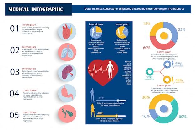 Infografía de indicadores de rendimiento de órganos