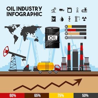 Infografía de la industria petrolera de procesamiento de gasolina y transporte
