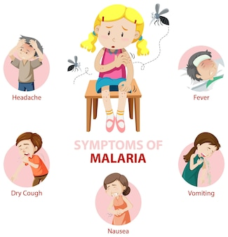 Infografía de información de síntomas de malaria.
