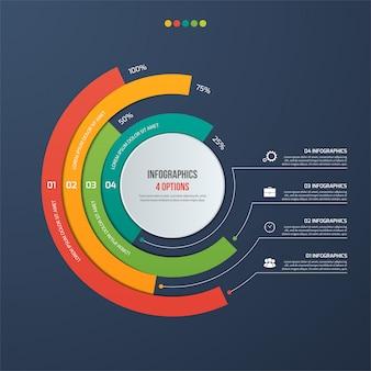 Infografía informativa circular con 4 opciones