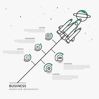 Infografía de inicio comercial con múltiples opciones, plantilla de flujo de trabajo de lanzamiento de cohetes de esquema