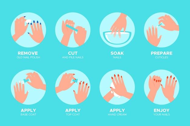 Infografía de instrucciones de manicura