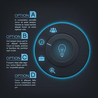 Infografía de interfaz web con botón redondo retroiluminación azul cuatro opciones e iconos