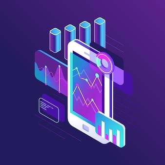 Infografía de investigación de datos, gráfico de tendencias y gráficos de estrategias de negocios analíticas sobre el desarrollo de diagramas de flujo de pantallas de teléfonos inteligentes