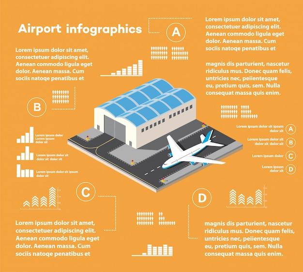 Infografía isométrica del aeropuerto de la ciudad, vuelo de construcción y edificio, terminal.