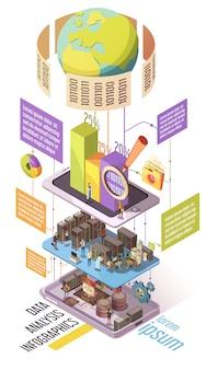 Infografía isométrica de análisis de datos con gráficos de información global.