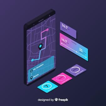 Infografía isométrica de aplicación para correr