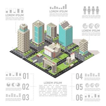 Infografía isométrica de edificios de oficinas