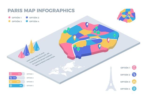 Infografía isométrica del mapa de la ciudad de parís