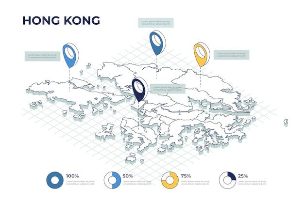 Infografía isométrica del mapa de hong kong