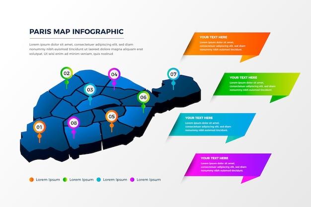 Infografía isométrica del mapa de parís