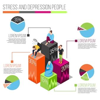 Infografía isométrica de personas de estrés