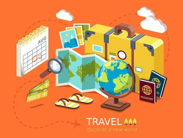 Infografía isométrica plana 3d para el concepto de elementos esenciales de viaje