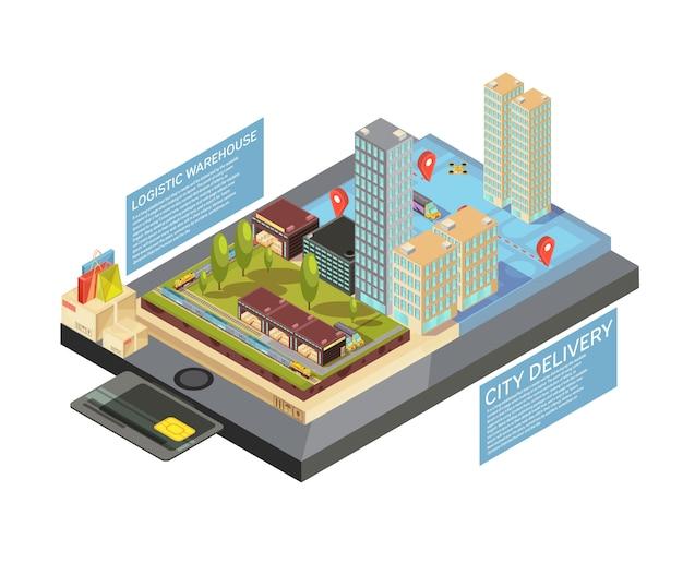 Infografía isométrica con productos en línea, entrega de la ciudad desde el almacén hasta el destino en la ilustración de vector de pantalla de dispositivo móvil