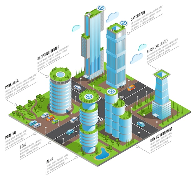 Infografía isométrica de rascacielos futuristas con centros comerciales rascacielos y otros elementos de la ciudad