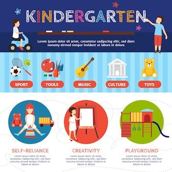 Infografía de jardín infantil con deporte y cultura símbolos vector plano ilustración