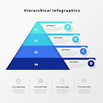 Infografía jerárquica azul creativa.