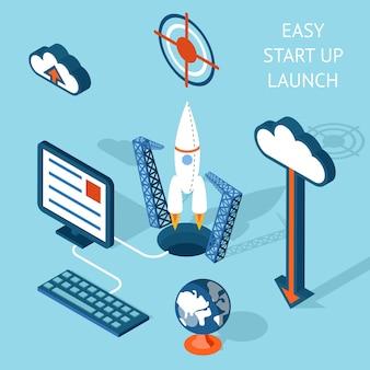 Infografía de lanzamiento de fácil puesta en marcha con dibujos animados en colores que enfatiza el cohete y la tecnología.