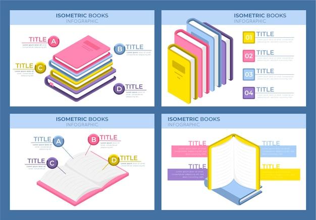 Infografía de libro isométrico